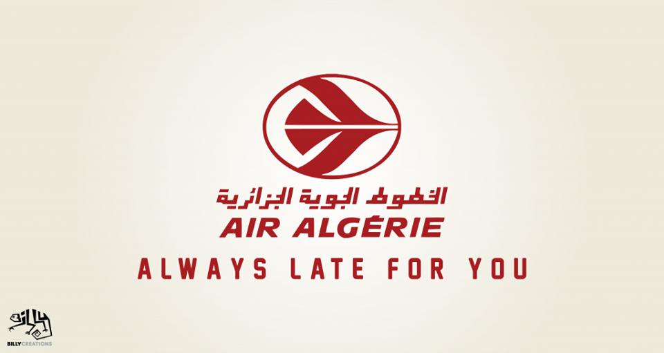 """Le slogan d'Air Algérie """"Always care for you"""" parodié par Billy Créations."""